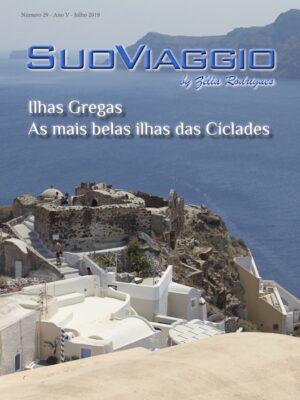 imagem da capa da edição Ilhas Gregas a mais belas ilhas das Cíclades - SuoViaggio Revista N. 29 - Julho 2019 - Ano V